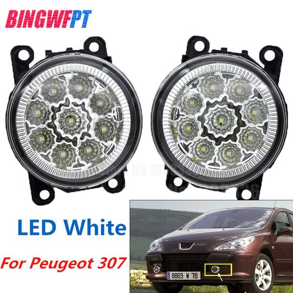 2PCS LED white yellow Front Fog Lights For Peugeot 307 SW 3H Estate 2002-2007 Car Styling Round Bumper