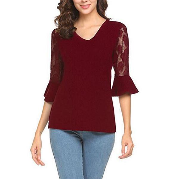 Seksi Moda Kadınlar V Yaka Dantel Gömlek Flare Kol Katı Yaz Tişörtlü Bayanlar Casual Ekleme İnce Tee S-XL Tops