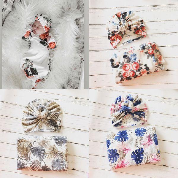 Fiori Baby Muslin Swaddle Wrap Coperte Avvolge Coperte Biancheria da letto Biancheria da letto Asciugamano Infantile Involucro di stoffa con cappello 14949