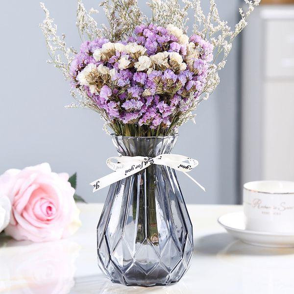Beautiful Vase Of Glass Vase Calla Peony Flower Artificial Flower Rose Bottle Rhombus Container Garden Utensils Decorative Pottery Vases Decorative