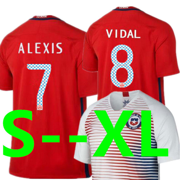 Soccer Jersey Chile 18 19 ALEXIS VIDAL H.SUAZO VALDIVIA Top Thailand Quality National Team Home Red Away Football Shirt 2018 World Cup