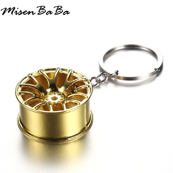 Metal Keychain Car Wheel Hub Auto Logos Key Chains For Woman Men Auto Repair Parts Car Mini Tire Wheel Key Chain 3 Color