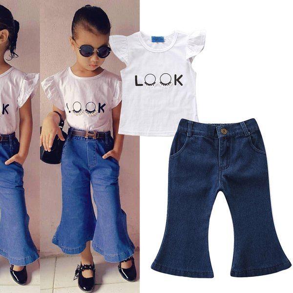 Baby Girls Outfits 2019 New Style Summer Kids White T shirt+Jeans Flared Trousers 2 pcs Set Children Fashion Clothing