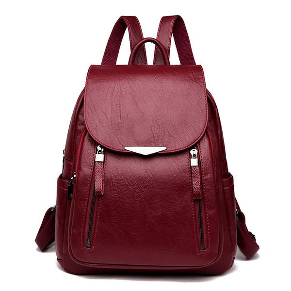 Старинные женщины мягкие кожаные рюкзаки дамы Bagpack большой емкости школьные сумки для девочек-подростков путешествия рюкзак Mochila Mujer