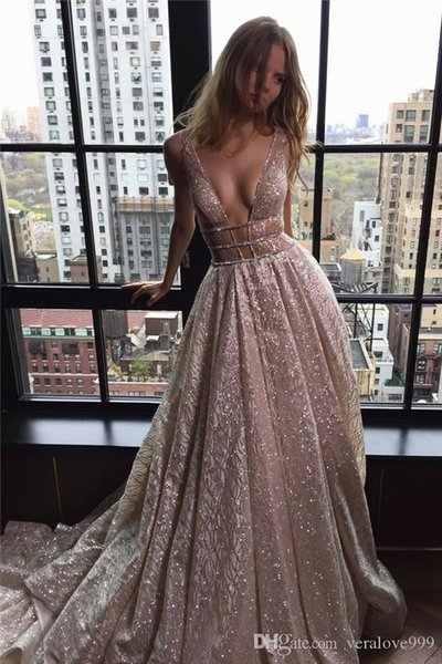 Deep V-neck Sparkly Sequins Evening Dresses A Line Open Back 2018 Prom Party Gown Red Carpet Celebrity Dresses Custom Made Runaway Gowns