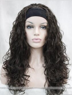 WIG FREE SHIPPING Hot heat resistant Party hair>>>>>Dark Brown Long Curly Wave women Daily 3/4 half wig with headband