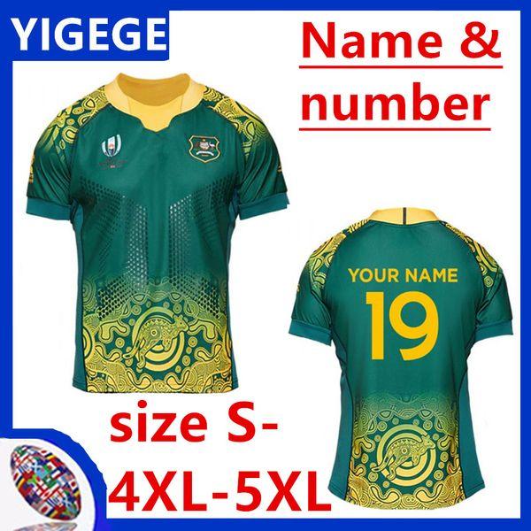 Australia Wallabies RWC 2019 Home Match Day Rugby Shirt 2019/2020 AUSTRALIA WALLABIES INDIGENOUS WORLD CUP RWC JERSEY size S-5XL(can print)