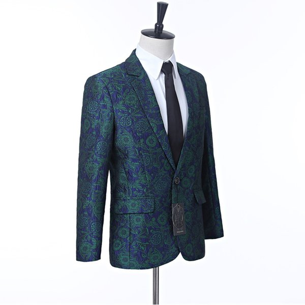 men's wedding jacket green floral groom jacket for the singer custom lapel one button men's best