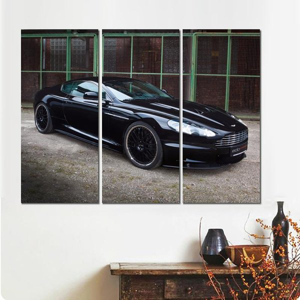 3 sets aston martin dbs black auto canvas print arts pictures for dining room decor