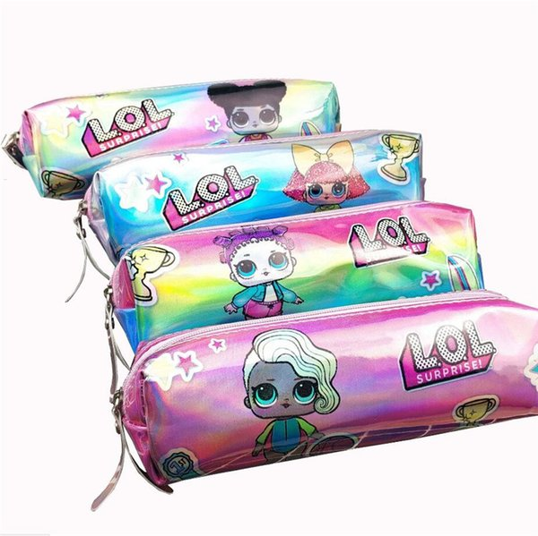 Surpresa a laser Meninas Lápis Sacos De Luxo Designer De Carteira Da Moeda Da Bolsa Da Menina do Menino Lápis Caso de Grande Capacidade de Escola de Papelaria caixa de Artigos de Papelaria A52204