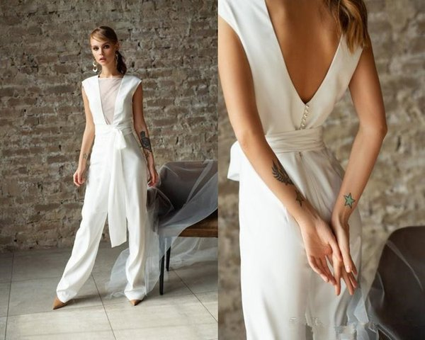 Discount Sexy Backlesssheer Neck Wedding Dresses Jumpsuit Modern Ivory Reception Bridal Gown Backless Even Suit Pearls Beaded Outfit Vestido De Novia