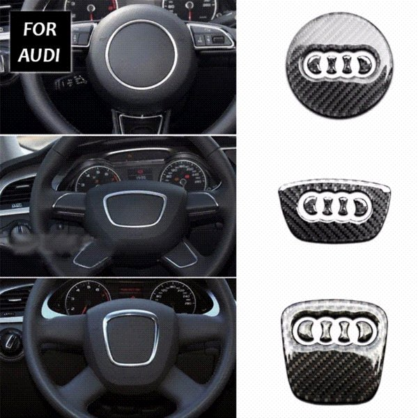 AEING Car Styling Steering Wheel Steering-Wheel Carbon Fiber 3D Car Stickers For Audi A1 A3 A4 A5 A6 A7 A8 Q3 Q5