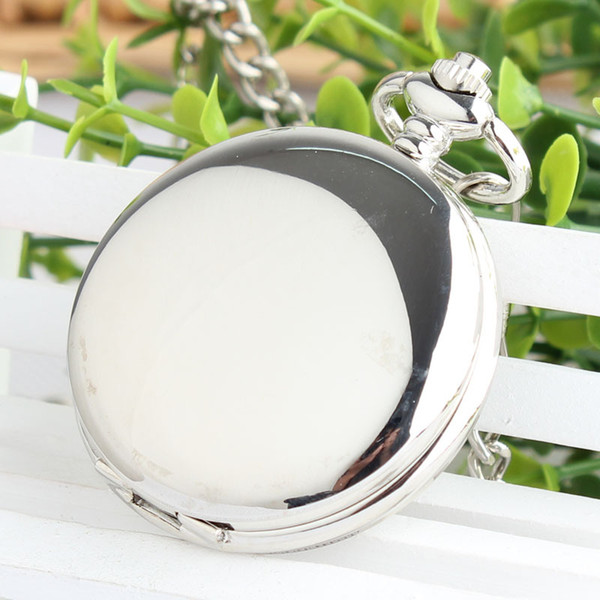 Retro Double Face Roman Numerals Skeleton Smooth Sliver Mechanical Pocket Watch Pendant Men Women With Chain Fob Watches TJX049