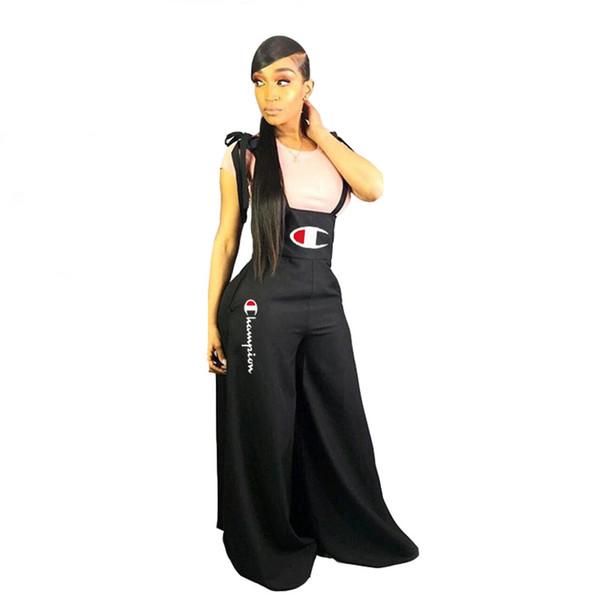 Women Champion Letter Print Jumpsuit Casual Suspender Pants Summer Overalls Girls Sleeveless Romper Wide Leg Dress Brace Trousers Hot A427