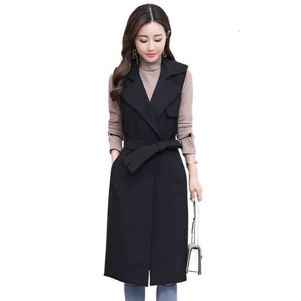 giacca vita sottile trench maglia lunga vestito della maglia senza maniche delle donne primavera e di autunno nuove donne del cappotto lungo nero