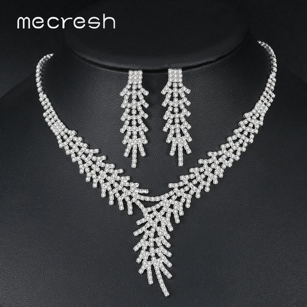 Mecresh Folha Ramo de Cristal Conjuntos de Jóias de Noiva para As Mulheres Cor Prata Rhinestone Nupcial Colar e Conjuntos de Brinco Jóias TL550