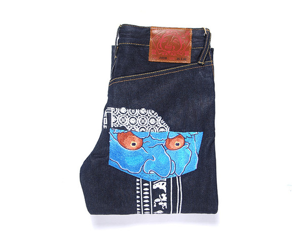 New color primary jeans men's Dao embroidery flower face mask men's slim feet pants men's size m tide jm12