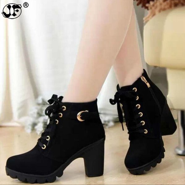 2018 New Autumn Winter Women Boots High Quality Solid Lace-up European Ladies shoes PU Fashion high heels Boots edt78
