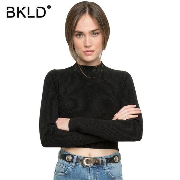 5d7e0d5bf0c Bkld Autumn Winter Elegant Women Sweater Long Sleeve Turtleneck Knitted  Pullover Sexy Skinny Short Sweaters Solid