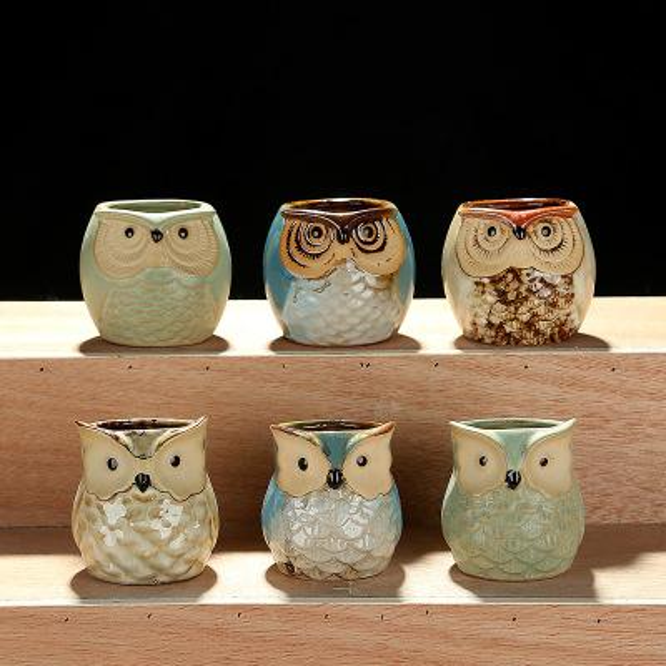 Cartoon Owl-shaped Flower Pot for Succulents Fleshy Plants Flowerpot Ceramic Small Mini Home/Garden/Office Decoration