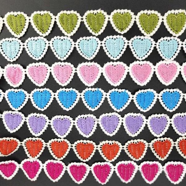 2.5 cm LaceTrim Forma Do Coração Bordado Tecido de Renda para Saias Vestidos de Traje de Design de Roupas Acessórios de Costura 15 Metros Por Lote