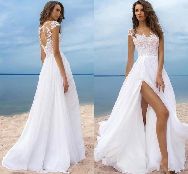 A Line Wedding Dresses Beach Chiffon Sheer Neck Lace Appliques Illusion Cap Sleeves Hollow Back High Slits Long Bridal Gowns