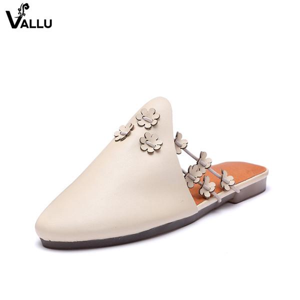 Flower Women' s Slide Sandals Shoes VALLU New Arrival Natural Leather Slippers Lady Handmade Cross Strap Comfort Female Slides