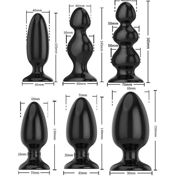 Black Silicone Big Butt Plug 6 Sizes Smooth Soft Huge Anal Plug Big Anal Beads Dilatador Anal Balls Sex Toys For Men Woman Y190716