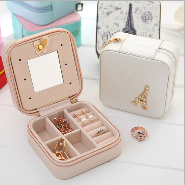 Mini Travel Portable Jewelry Box With Mirror Cosmetic Makeup Organizer Earrings Casket Three-tier Storage Box Best