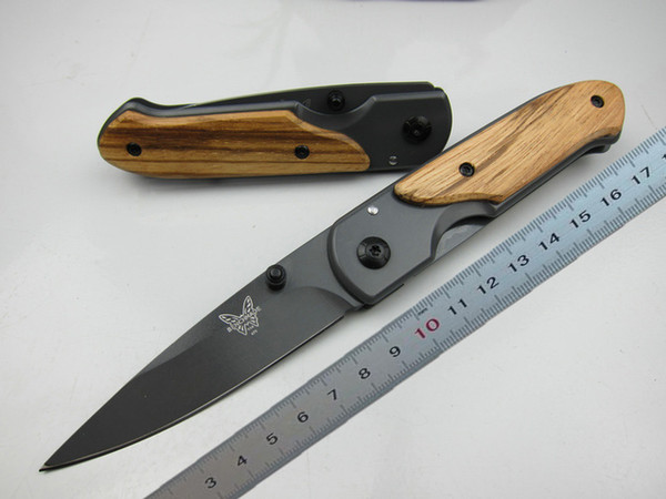 top popular Butterfly DA44 folding knife Wood handle Titanium finish Blade tactical knife EDC Camping knife Hunting knives Outdoor survival Tool 2020