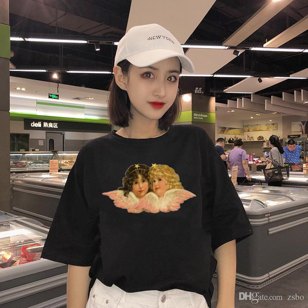 Fashion design T-Shirts for women Pink angel pattern Print t shirt short sleeve tops plus size female tees tshirt WC70