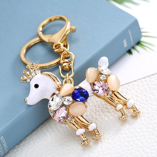 Fashion Stone Crown Horse Keychains Bags Charm For Giril Top Quality Animal Pendant Alloy Keyrings Luxury Car Key Chains Accessories