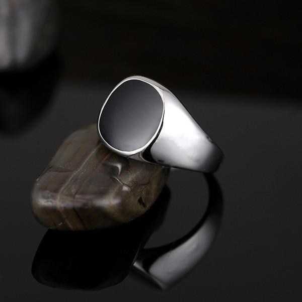 Твердые полированной нержавеющей стали Мужские кольца диапазона Байкер Мужчины Перстень палец ювелирные изделия известный дизайнер черные кольца для