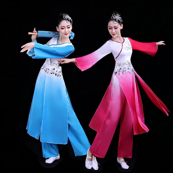 Alta qualità 2019 New Color Performance di danza classica Costumi Abbigliamento nazionale Yangko Fan Dance Umbrella