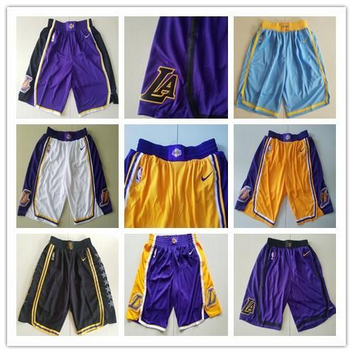 2019 New Mens LosAngelesLakerss Shorts 23LeBronJames Pantalones transpirables Blanco Rojo Azul Negro Amarillo Púrpura 100% Stitched Short Mix Order sale