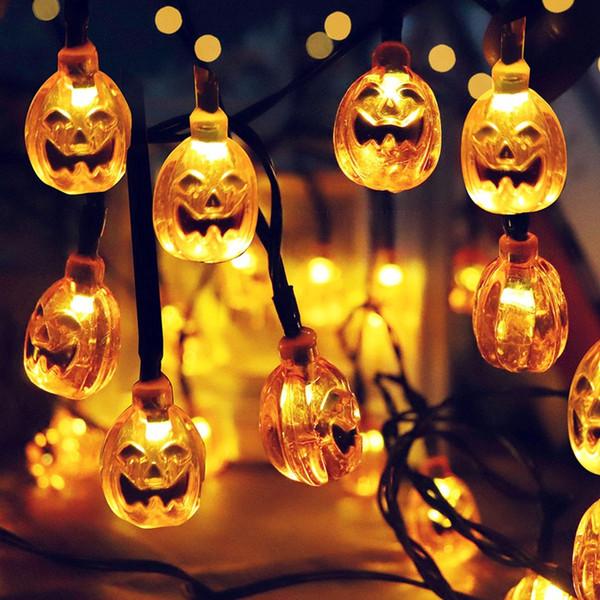 Acheter 30 LED Solaire Lumière Bande De Citrouille De Halloween Lumière  Chaîne Nouveauté Lampe De Nuit Party Extérieur Décoration De Jardin  Ornement ...