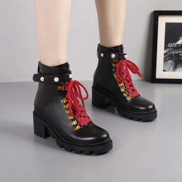 2019 New Quality design women's fashion martin boots girls casual outdoor flat medium boots cowboy soft leather black white size 35-40 #G40