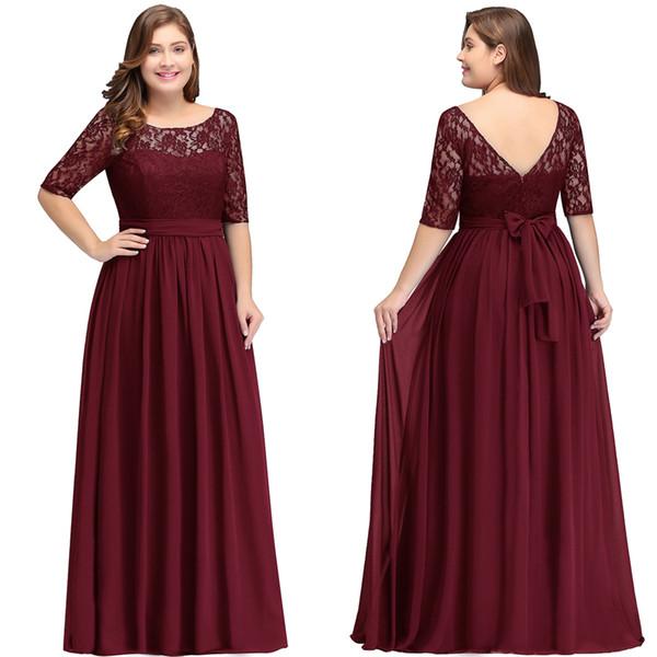 Plus Size Mother Of Bride Dresses Sleeves A-Line Lace Chiffon Scoop Zipper Floor Length Zipper Evening Dresses Long Formal Gowns 2019