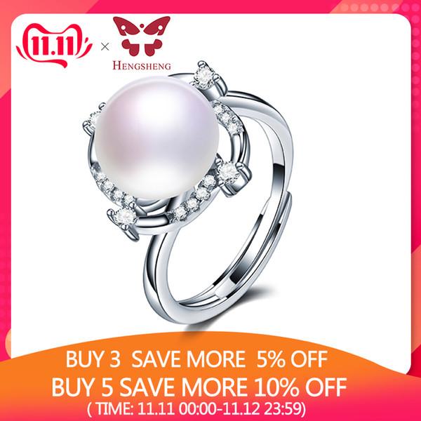 Nagelneues 925 Sterlingsilber-Blumen-justierbare Ringe für Frauen Art und Weise S925 Hochzeit Schmuck-Geschenk, Big 10mm echten Perle-Ring