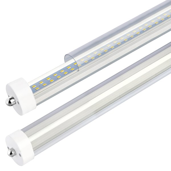 T8 T10 T12 8ft Led Tube Light Single Pin Fa8 Base 8 Ft Led Bulbs 72w 6000k Daylight 7500lm 96 Dual Row Led Replacement For 8foot Led Fluorescent