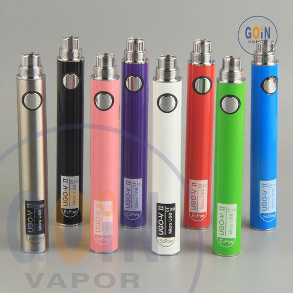 UGO V II 2 650 900 mAh 510 Thread Vape Pen Battery EVOD eGo T Micro USB Passthrough Vape batteries & Charger e cigs vaporizers