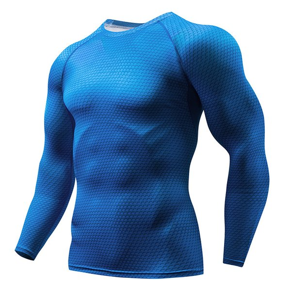 Mens Compression Base Layer Slim Fit Tops Long Sleeve Sports Jogger T-Shirt Gym