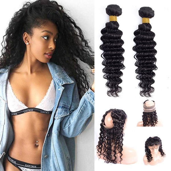 Malaysian Human Hair Natural Color 2 Bundles With 360 Lace Frontal 3 Pieces/lot Deep Wave Bundles With 360 Frontal