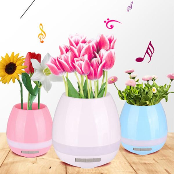 FDR 1 pc 3 Cor Música De Plástico Vaso De Flores Vaso Plantador LED Night Light Speaker Bluetooth Home Garden Office Supplies Decoração
