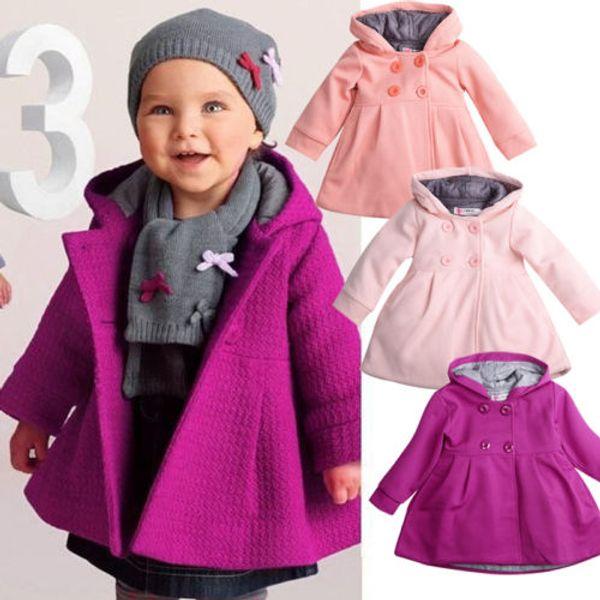 Fashion Baby Girl Coats Long Sleeve Button Hooded Trench Coats Warm Fall Winter Windbreaker Parka Jacket Kids Outerwear 6M-3Y