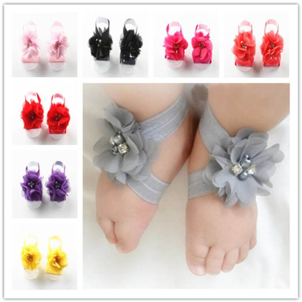 Toddler Baby Chiffon Water Drill Flower Foot Belt Set Sandals Flower Barefoot Foot Infant First Walker Shoes Photography Props hot A32003