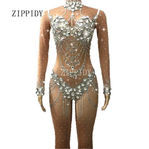 Cristaux scintillants Nude Jumpsuit Stretch Stones Outfit Célébrez Bright Body strass Costume Femme Anniversaire Chanteur Robe