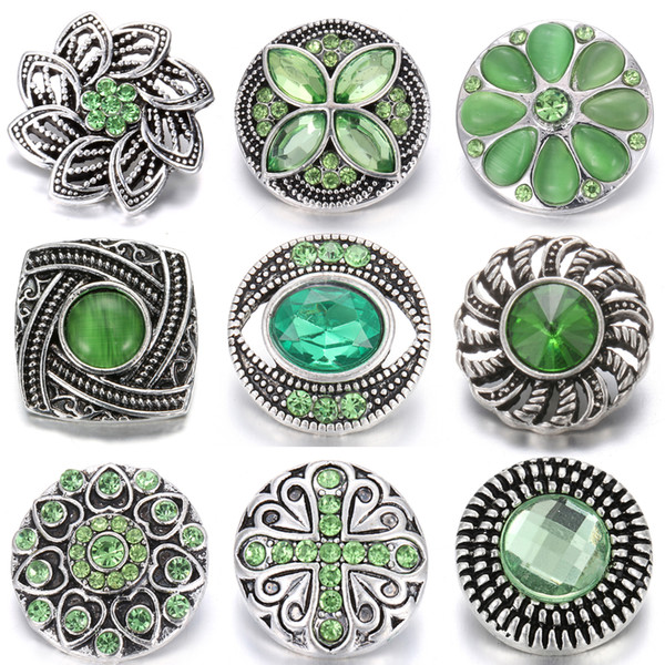 Mixed Noosa Green 18mm Metal Snap Buttons For 18mm Snap Button Bracelets Necklace Jewelry Charm Rhinestone Button