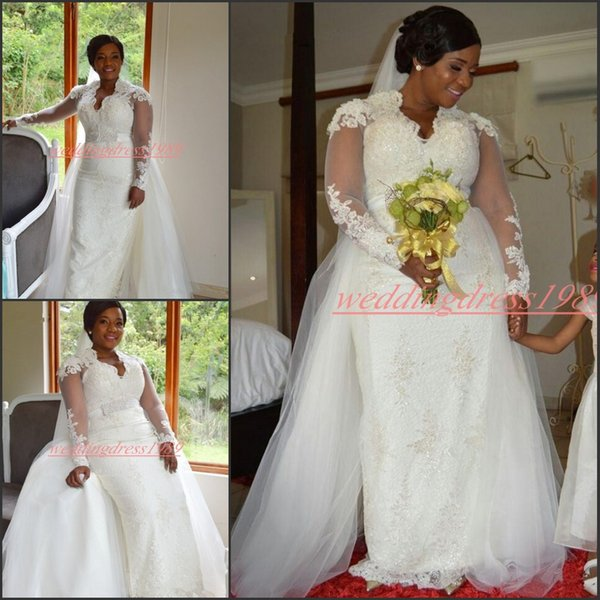 Long Sleeve Plus Size Mermaid Wedding Dresses With Detachable Skirt Overskirt Lace African Country Bridal Gown Bride Dress Arabic Custom