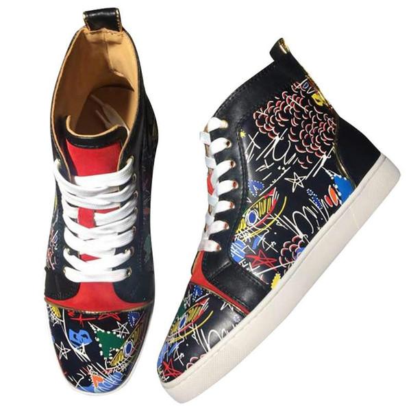 2019 Новые мужские и женские дизайнерские кроссовки Известный дизайнер с красной подошвой Мужская роскошная обувь из натуральной кожи с белыми носками на плоской подошве 3А